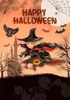 Ilustracja latająca czarownica dla halloweenowego tła
