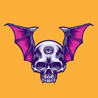 Ilustracja latająca czaszka