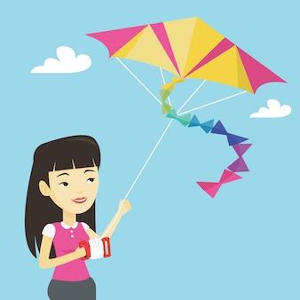 Ilustracja latająca latawiec młoda kobieta.