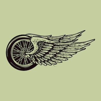 Ilustracja latające koła vintage