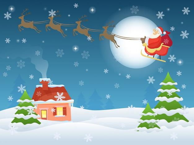 Ilustracja latającego świętego mikołaja nad domem i drzewami w nocy. kartkę z życzeniami krajobraz wigilię bożego narodzenia.