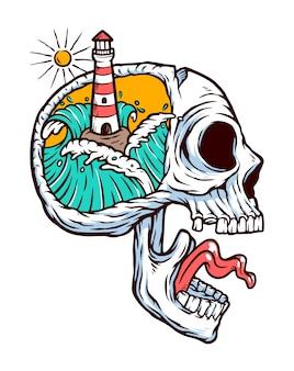 Ilustracja latarnia morska w mojej głowie