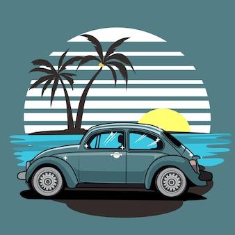 Ilustracja lato chrząszcz surfowania