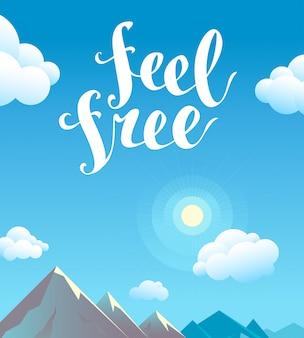 Ilustracja lato krajobraz górski płaski kreskówka. świecące słońce, błękitne niebo, biała chmura. odręczny sms, ręcznie rysowane czcionki, napis. projekt druku, plakat, afisz, karta, reklama.