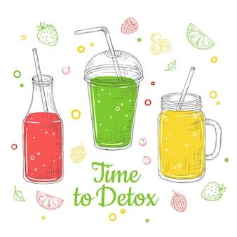 Ilustracja lato napój. czas na detoks
