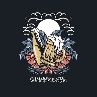 Ilustracja lato piwo