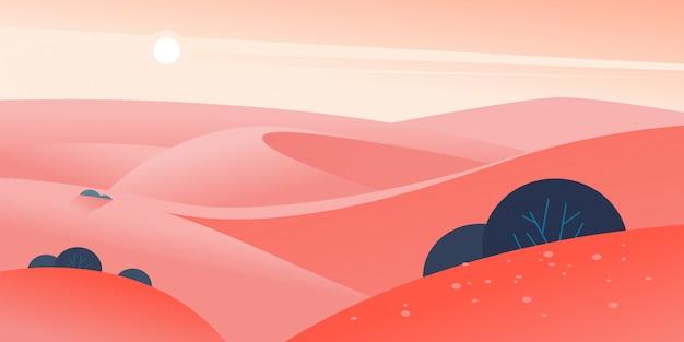 Ilustracja lato płaski krajobraz z pustynnymi wzgórzami i wydmami na jasne gorące słoneczne niebo.