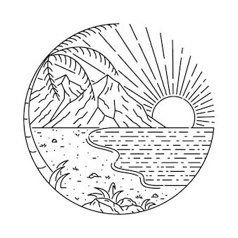 Ilustracja lato plaża morze zachód słońca wschód słońca wakacje