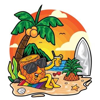 Ilustracja lato plaży ananasa