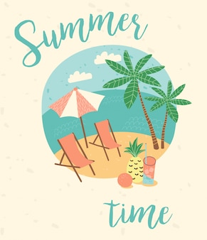 Ilustracja lato wakacje.