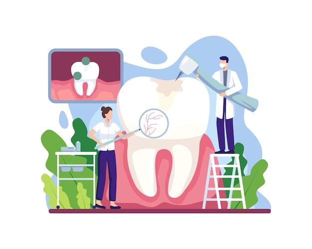 Ilustracja leczenia próchnicy. lekarz dentysta leczący ludzkie zęby za pomocą sprzętu medycznego. koncepcja stomatologii, opieki zdrowotnej i stomatologii. ilustracja wektorowa w stylu płaskiej