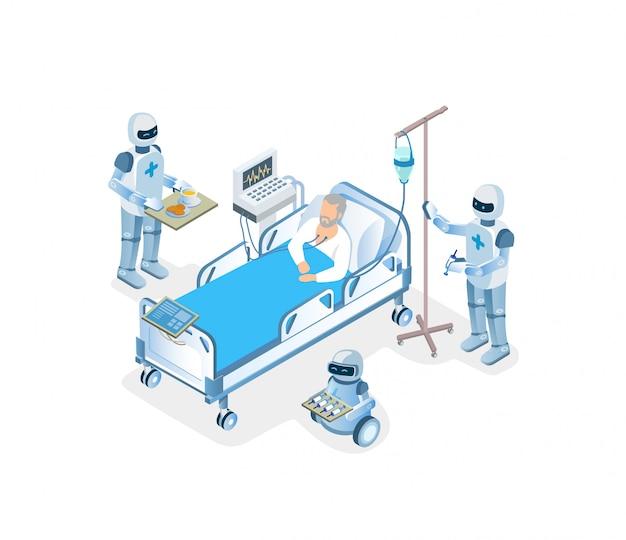 Ilustracja leczenia szpitalnego pomocy w inteligentnej klinice.