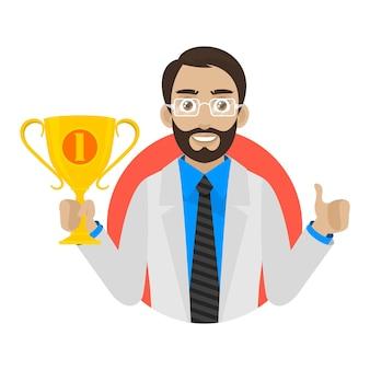 Ilustracja lekarz trzyma kubek w okręgu, format eps 10