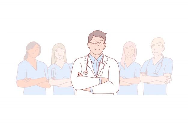 Ilustracja lekarz, zespół, przywództwo, staż