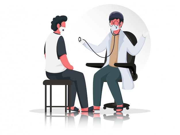 Ilustracja lekarza badającego pacjenta przy użyciu stetoskopu siedzącego na krześle z maską medyczną, aby zapobiec koronawirusowi.