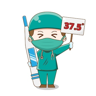 Ilustracja lekarza chibi na sobie kombinezon chirurgiczny trzymając termometr na białym tle