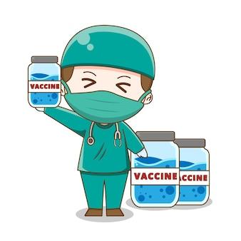 Ilustracja lekarza chibi w kombinezonie chirurgicznym znalezienia szczepionki na białym tle