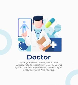 Ilustracja lekarza, który delikatnie obsługuje pacjentów