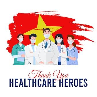 Ilustracja lekarzy i pielęgniarek noszących maski na twarz z flagą wietnamu w tle. wektor