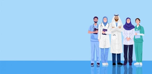 Ilustracja lekarzy i pielęgniarek z bliskiego wschodu.