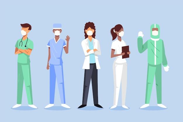 Ilustracja lekarzy i pielęgniarek