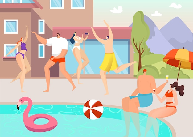 Ilustracja letnia impreza przy basenie