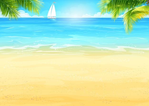 Ilustracja letnia plaża i palmy na tle morza i białej łodzi