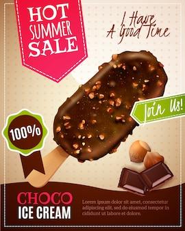 Ilustracja letnia sprzedaż lodów