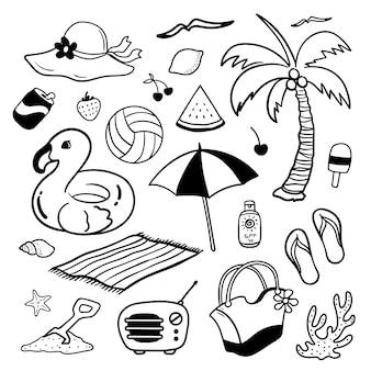 Ilustracja letnich wakacji doodle