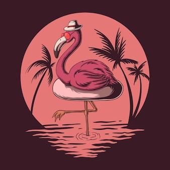 Ilustracja letnich wibracji flamingów