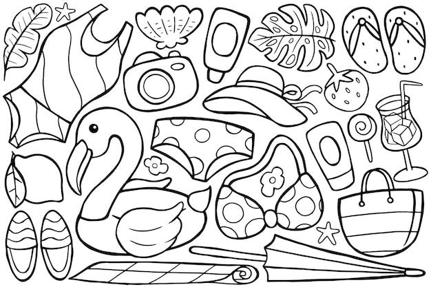 Ilustracja letniego doodle w stylu kreskówki
