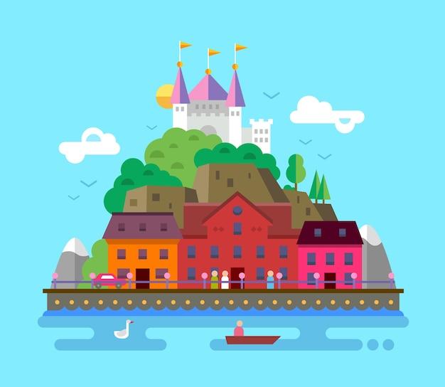 Ilustracja letniego europejskiego pięknego krajobrazu z budynkami