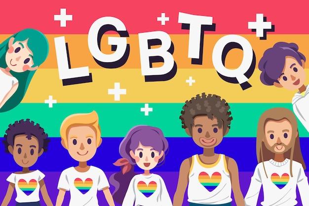 Ilustracja lgbtq w miesiącu szczęśliwej dumy
