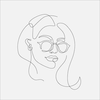 Ilustracja lineart głowy kobiety. jeden rysunek linii.