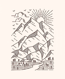 Ilustracja linia górskiej scenerii