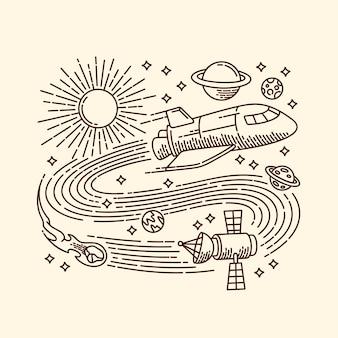 Ilustracja linia kosmiczna przygoda