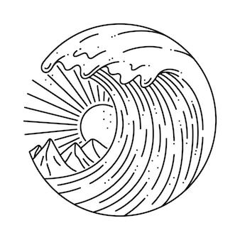 Ilustracja linia lato surfowania na plaży