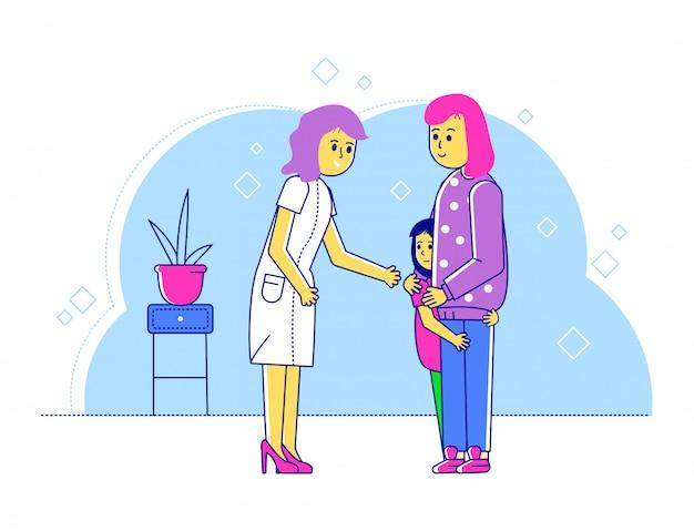 Ilustracja linia lekarz pediatra, kreskówka szczęśliwa matka i dziecko chłopiec znaków odwiedzając specjalistę do badania lekarskiego