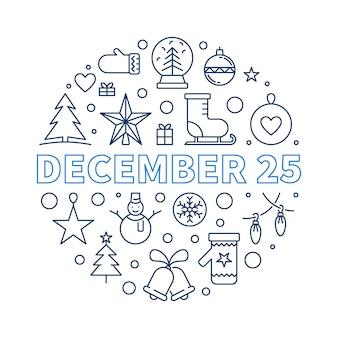 Ilustracja linii 25 grudnia - koncepcja wesołych świąt