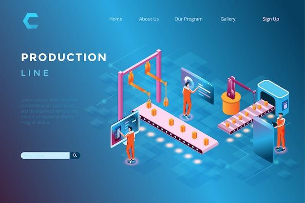 Ilustracja linii produkcyjnych i systemów automatyki wykorzystujących roboty w izometrycznym stylu 3d