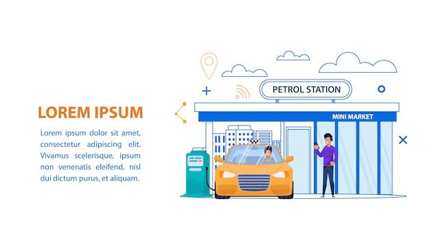 Ilustracja linii stacji benzynowej. żółta taksówka paliwo