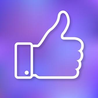 Ilustracja liniowa kciuka w górę ikony