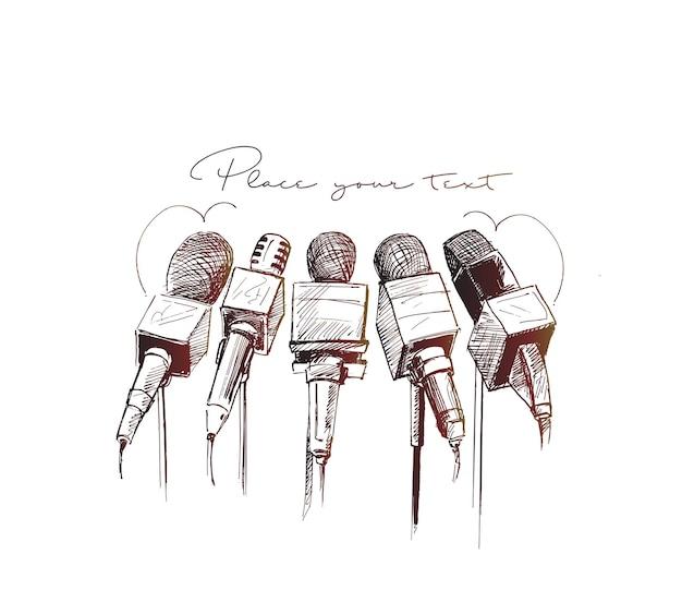 Ilustracja liniowa mikrofonów i rejestratorów dla symbolu dziennikarstwa