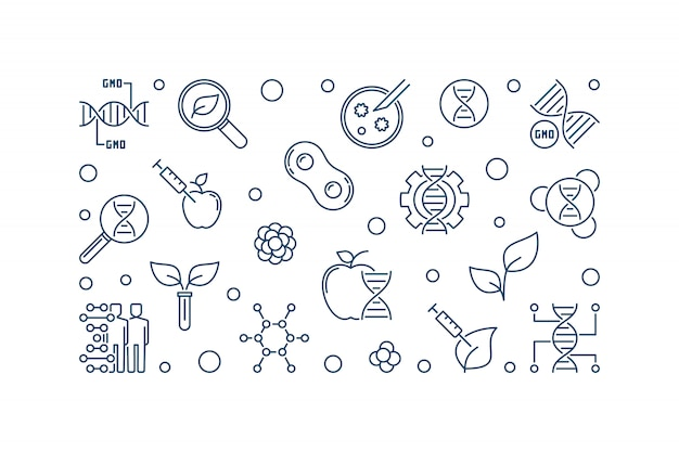 Ilustracja liniowa organizmu zmodyfikowanego genetycznie