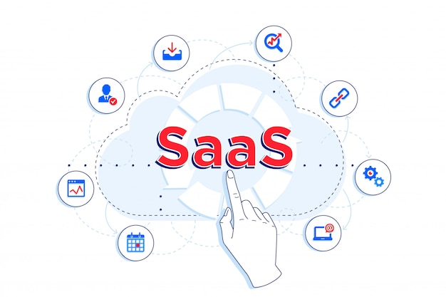 Ilustracja liniowa saas i ipaas. klient korzystający z saas do różnych celów - przechowywania, statystyk, przetwarzania w chmurze.