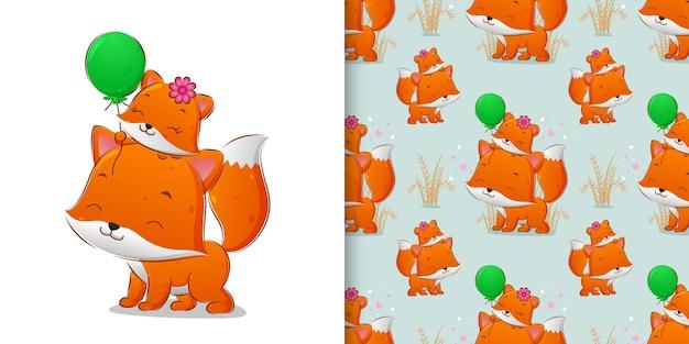 Ilustracja lisa rodzeństwa, który pozuje i trzyma kolorowy balon