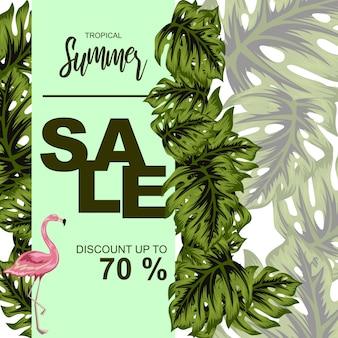Ilustracja liść tropikalny na lato plakat sprzedaż