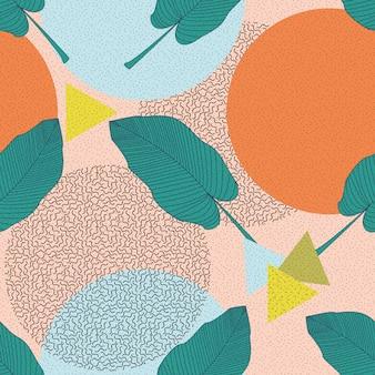 Ilustracja liści dżungli. kolorowy tropikalny druk. kwiecistego rocznika bezszwowy wzór