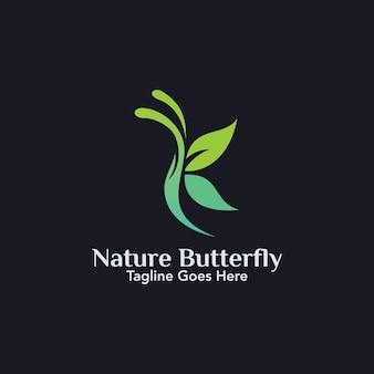 Ilustracja liścia w kształcie zielonego motyla