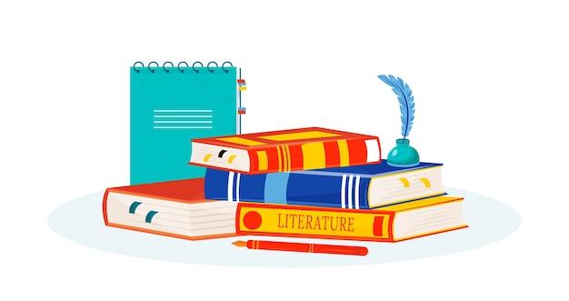 Ilustracja literatury. czytanie książek. kreatywne pisanie. przedmiot szkolny. metafora studium opowiadania historii. stos podręczników, notatnik i obiekty z kreskówek kałamarz